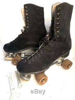 VINTAGE Riedell Douglass Snyder Black SUEDE Roller Skates Fo-Mac Clay Sz 9 RARE