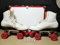 VINTAGE Riedell Pacer Womens 8B White Roller Skates with Case & Key! 1960s 1970s