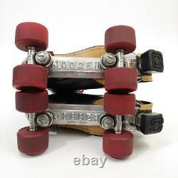 VTG Black Leather Riedell Jogger Sure Grip Lace Up Black Roller Skates Size 8