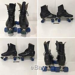 VTG Mens Riedell Century SIZE 10 Sure Grip Roller Skates w Case Black Leather