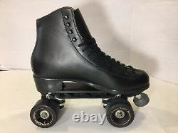 VTG Riedell 121 Black Leather Roller Skates Mens 6.5 Womens 8 Sunlite Plates