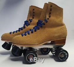 VTG Riedell 130M Tan Mens Sz 8 Roller Skates with Sure-Grip Super X5 & Rollerbones