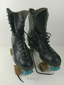 VTG Riedell Red Wing Roller Skates Black Sure Grip Supreme Deluxe sz 10 with Case