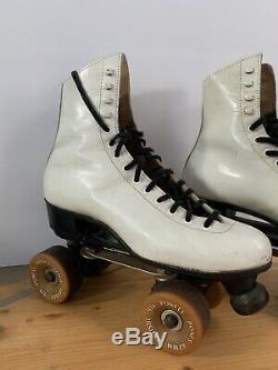 VTG Riedell Roller Skates Powell Bones 62mm Wheels Chicago Panther Plates Sz 7.5