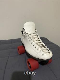 VTG Riedell White Leather Roller Skates Mens Sz 9 Sunlite Plates Good