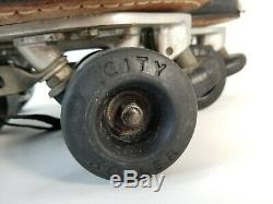 Vintage 80's RIEDELL Roller Skates Black 9.5 Sure Grip XK-4 7 PLATES City Roller