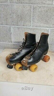 Vintage Black Leather Riedell Jogger withSims Wheels Black Roller Skates Size 10