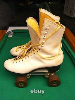 Vintage Custom Douglas Snyder Super Deluxe Riedell Roller Skates White Size 7