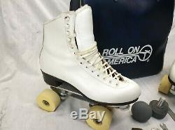 Vintage Douglas Snyder Custom Built Roller Skates. Riedell Boot Sz 7 Women's. A+
