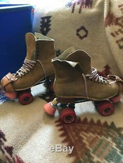 Vintage Leather Riedell Roller Skates Powell Peralta Wheels Bones VENICE CA. SZ8
