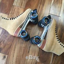 Vintage Leather Suede Riedell Roller Skates route 65 kryptonics Wheels Mens 8