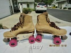 Vintage Pair Red Wings Riedell 130L Suede Tan Roller Skates Women's Size 7 IOB