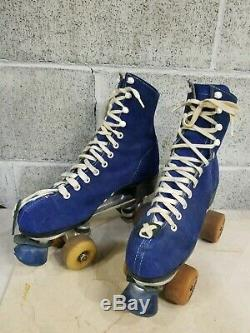 Vintage RIEDELL Blue Suede Leather ROLLER SKATES Powell Peralta Bones Wheels 8