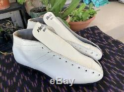 Vintage Riedell 122 13 M White Leather Speed Skate Boot