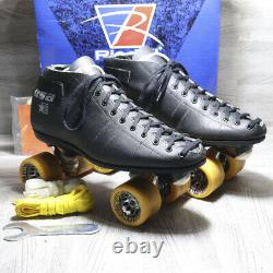 Vintage Riedell 122 USA Black Competition Roller Skates Mens Size 13 with Box