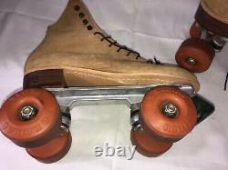 Vintage Riedell 130 Tan Suede Roller Skates K-R Radial Roller Wheels womens 8