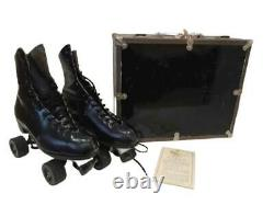 Vintage Riedell 216 Black Leather Roller Skates Size 8.5 With Case Shoe Trees