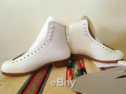 Vintage Riedell 297 Womens 9 White Leather Shearling Tongue Artistic Skate Boot