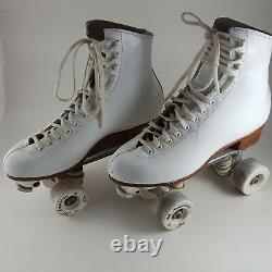 Vintage Riedell 355B Womens 7 Silver Star White Roller Skates Sure Grip