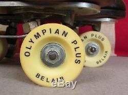 Vintage Riedell Black Leather Roller Skates Sure Grip Belair Olympian Wheels sz6