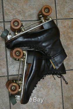 Vintage Riedell Black Leather Sure Grip Roller Skates Mens 10 Suregrip 99P