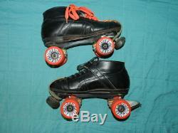 Vintage Riedell Black Speed Roller Skates Mens size 11 USA Hyper Rollo Outdoor