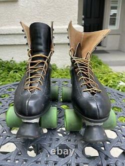 Vintage Riedell Chicago Custom Roller Skates Size 10 Black Leather Krypto Wheels