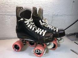 Vintage Riedell Classics Roller Skates Hockey Boot Sure Grip plate & Wheels sz 6