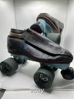Vintage Riedell Distressed Leather Speed Roller Skates sz 6 Vanguard Savage USA
