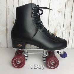 Vintage Riedell Leather Roller Skates Sure Grip Bones 57mm Wheels 5 1/2
