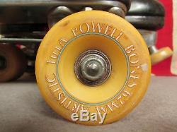 Vintage Riedell Leather Roller Skates Sure Grip Bones Artistic Wheels 9.5 Nice