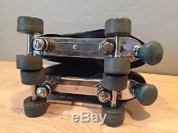 Vintage Riedell Red Wing Black Leather Sure Grip Roller Skates Mens 10.5