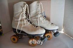 Vintage Riedell Red Wing MN Quad Roller Skates Powell Bones Wheels 7.5 Box
