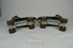 Vintage Riedell Red Wing Roller Skates Size 11 Black Leather Douglass Snyder