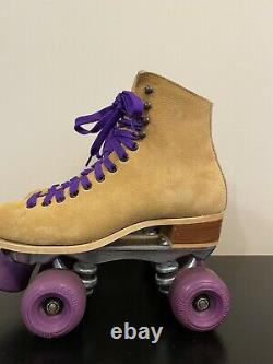 Vintage Riedell Red Wing Roller Skates Sz 7 Sure Grip Suede Tan 130 L MINT