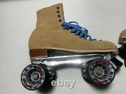 Vintage Riedell Red Wing Roller Skates Sz 9 Sure Grip Suede Tan Great Condition