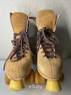 Vintage Riedell Red Wing Suede Roller Skates Chicago Plates 7 Men's Size 10 RARE