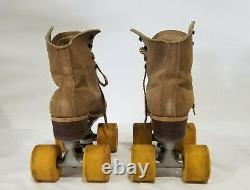 Vintage Riedell Red Wing Suede Roller Skates Chicago Plates Sz 6