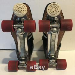 Vintage Riedell Roller Skates Shoes Men's Black SZ 11 Sure Grip Plates Tools Box