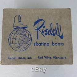 Vintage Riedell Roller Skating Boots Skates 7.5 White Chicago Red Wing With Box