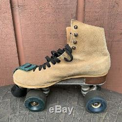 Vintage Riedell Suede Leather Roller Skates Excellent Condition Mens Size 8