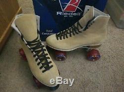 Vintage Riedell Suede Roller Skates Sure Grip 130L Beige Figure F Med Sz 11 Box