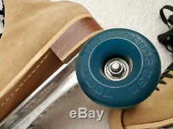 Vintage Riedell Super X Sure Grip Roller Skates Kryptos Wheels Mens 8