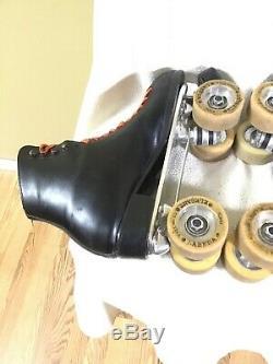 Vintage Riedell Sure Grip Century Size 12 Black Roller Skates Labels Elegant