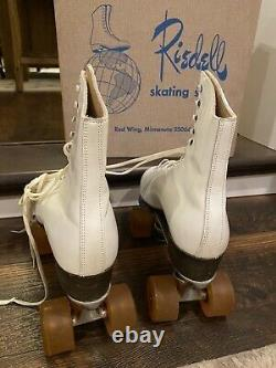 Vintage Riedell Sure Grip Super X 6L Womens Size 8 White Leather Roller Skates