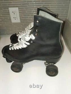 Vintage Riedell Sure Grip super X7L Size 10 Black Leather Roller Skates/Mens
