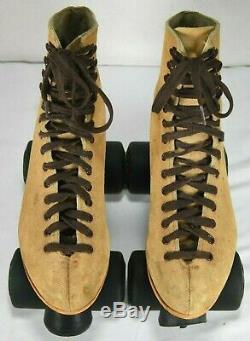 Vintage Riedell Tan Mens Size 7 Sure Grip SuperX 5R Roller Skates Suede KRYPTOS