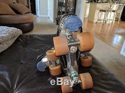 Vintage Riedell USA Mens Speed Roller Skates Striped Size 11