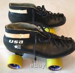 Vintage Riedell black leather Mens Quad Roller Skates Size 9 Turbo GT wheels