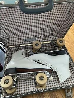 Vintage Womans White Riedell Roller Skates White Size 7 1/2 With Original Case